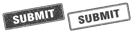 Illustration pour submit square stamp. submit grunge sign set - image libre de droit