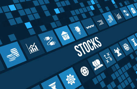 Stocks concept image with business icons and copyspace.