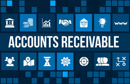 Account receivable concept image with business icons and copyspace.