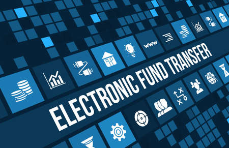 Photo pour Electronic fund transfer concept image with business icons and copyspace. - image libre de droit