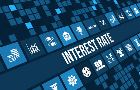 Interest rate concept image with business icons and copyspace.