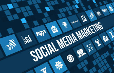 Photo for Social media marketing concept image with business icons and copyspace. - Royalty Free Image