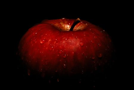 Wet red apple fading into black background