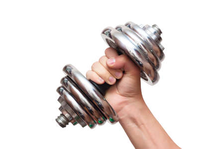 Dumbbells in hand on a white background