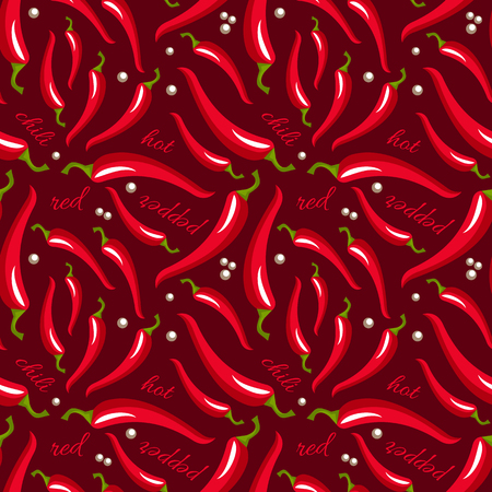 Vector Red Hot Chili Peppers Seamless Pattern Chili Peppers
