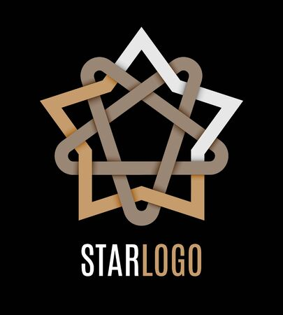Star icon logo. Oriental and celtic star knots or abstract geometry design elements isolated on black background. Vector illustration