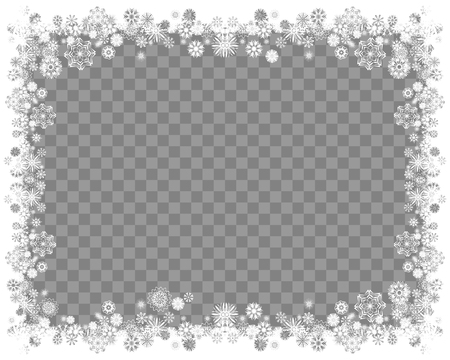 Illustration pour Snow frame on a transparent background. Abstract winter background for your Merry Christmas and Happy New Year frame design. Vector illustration - image libre de droit