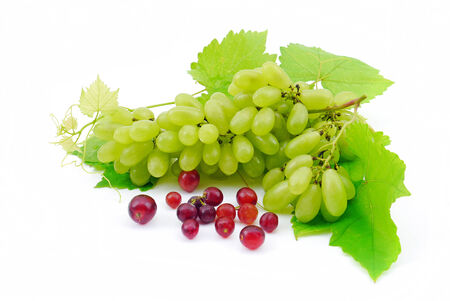 Green grapes with leaf close-up on a white background. の写真素材
