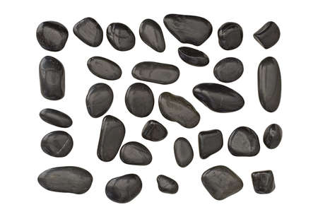 Isolated black pebbles with various shape