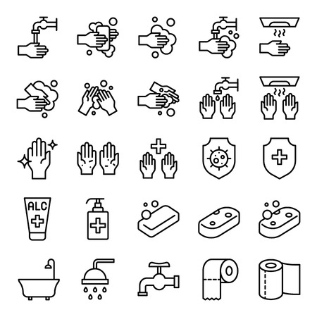 Illustration pour Bathroom Hygiene vector set, line design icon - image libre de droit