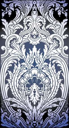 one patron of seamless pattern of Luis XIV bedroom