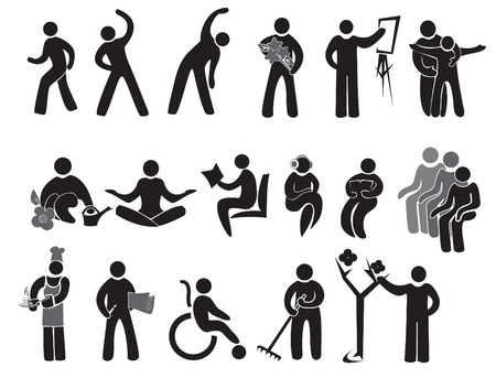 Icons of activities of people after 65+