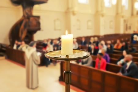 Photo pour candle by Church service background  - image libre de droit