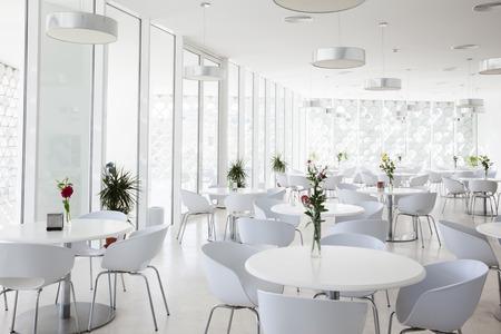interior of white summer restaurant