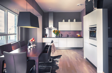 interior of modern  living room and kitchen part