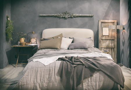 Photo pour detail of home bedroom in country style - image libre de droit