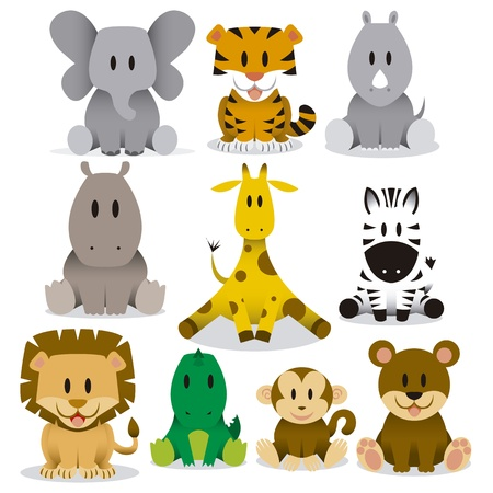 A set of cute vector cartoon wild animalsのイラスト素材