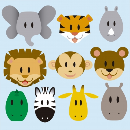 A set of cute vector cartoon wild animals