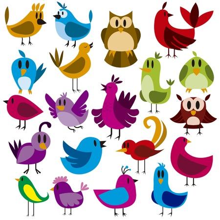A cute vector set of 20 cartoon birds