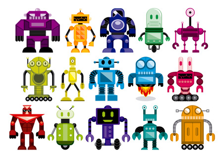 Vector Set Of Different Cartoon Robots Isolatedのイラスト素材