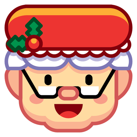 Vector Cartoon Mrs. Claus Icon Isolated On White Background