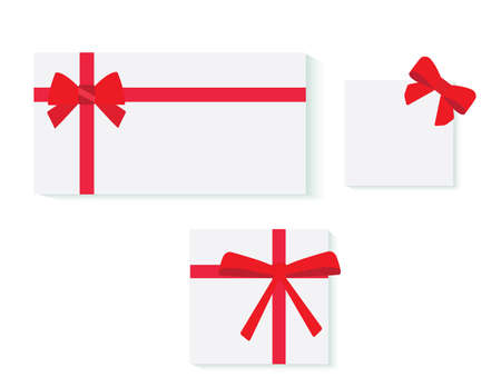 Illustration pour Set of card notes with red gift bows with ribbons Vector - image libre de droit