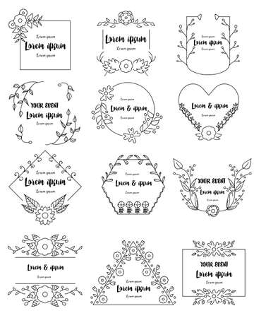 Illustration pour Hand drawn floral frames set for branding - image libre de droit