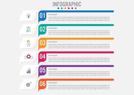 Photo pour Business infographic labels template with 6 options.Creative concept for infographic. - image libre de droit