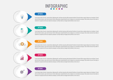 Photo pour Business infographic template with 5 options circular shape, Abstract elements diagram , parts or processes and business flat icon, business template for presentation.Creative concept for infographic. - image libre de droit