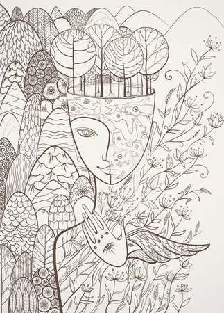 Ilustración de Vector contour illustration of Mother Nature with animals, trees, flowers and mountains. Goddess of Summer. Protect of environment. eps 10 - Imagen libre de derechos