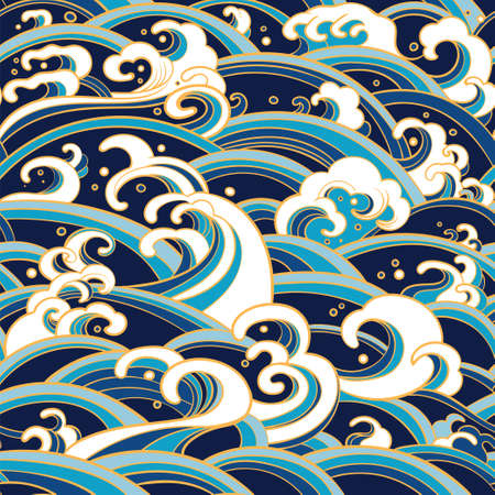 Illustration for Traditional oriental seamless pattern with ocean waves, foam, splashes. - Royalty Free Image