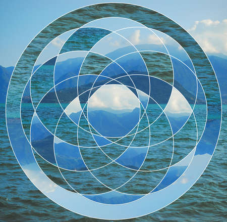 Abstract background with the image of the lake, mountains and the sacred geometry symbol. Harmony, spirituality, unity of nature. Collage, mosaic.