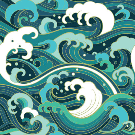 Foto de Traditional oriental seamless pattern with ocean waves, foam, splashes. Vector backdrop - Imagen libre de derechos