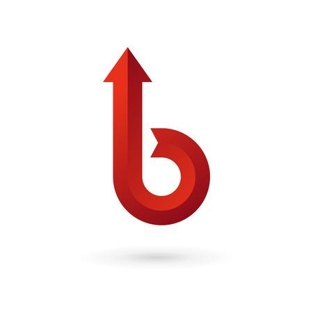 Letter B arrow ribbon logo icon design template elements. Vector color sign.