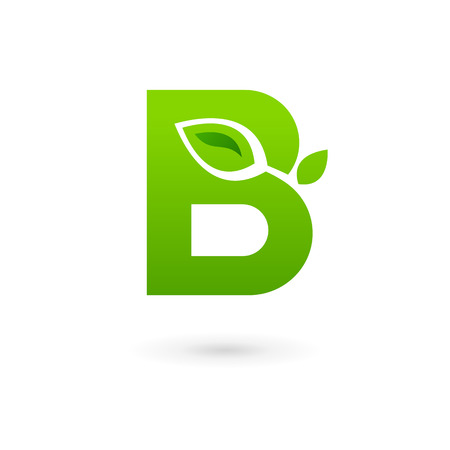 Letter B eco leaves logo icon design template elements. Vector color sign.
