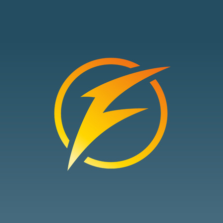 Letter F lightning logo icon design template elements. Vector color sign.
