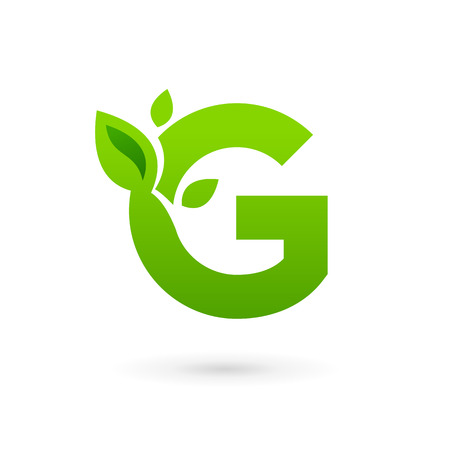 Letter G eco leaves logo icon design template elements. Vector color sign.