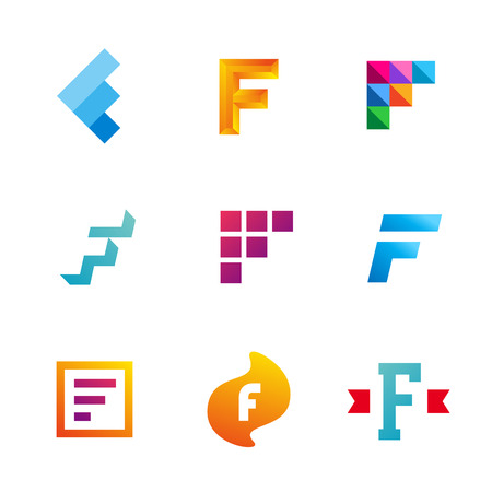 Set of letter F logo icons design template elements. Collection of vector signs.