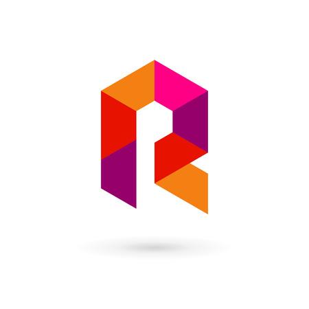 Letter R mosaic logo icon design template elements