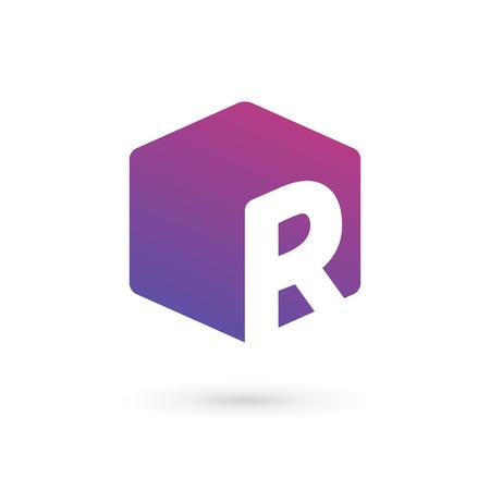 Letter R cube logo icon design template elements