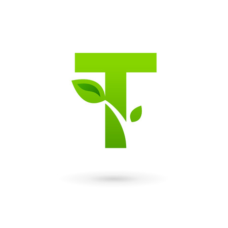 Letter T eco leaves logo icon design template elements