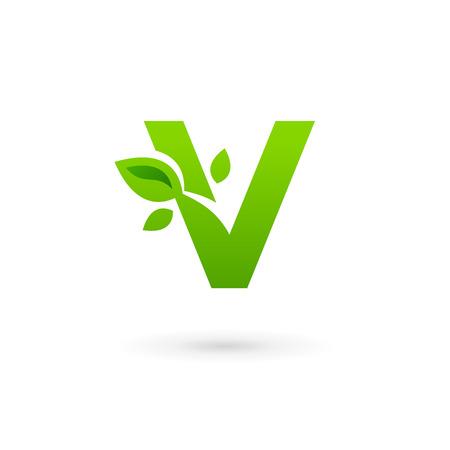 Letter V eco leaves logo icon design template elements