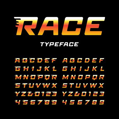 Illustration pour Sport font. Vector alphabet with tail effect letters and numbers. - image libre de droit