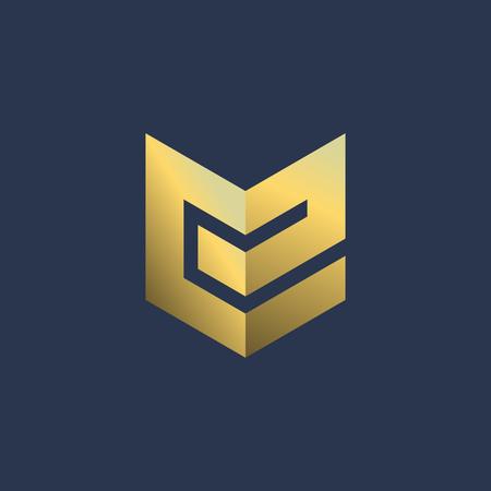 Letter E shield logo icon design template elements
