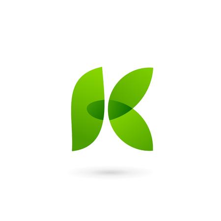 Letter K eco leaves logo icon design template elements