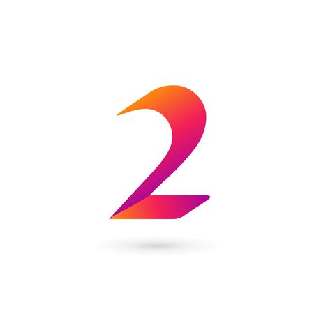 Illustration pour Number 2 icon design template elements - image libre de droit