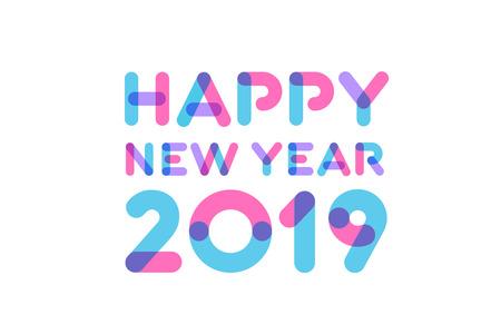 Ilustración de Happy new year 2019 greeting card design - Imagen libre de derechos