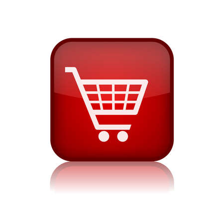 Shopping trolley vector button