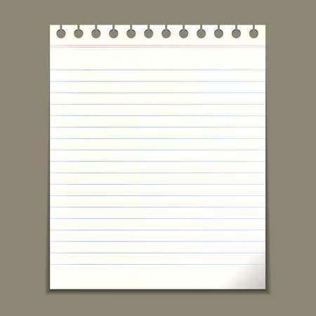 Blank notepad sheet, vector illustration