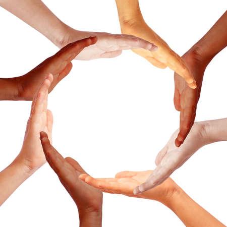 Hands circle, internationl teamwork concept